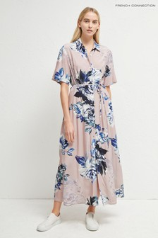 French Connection Pink Corsetta Drape Shirt Dress