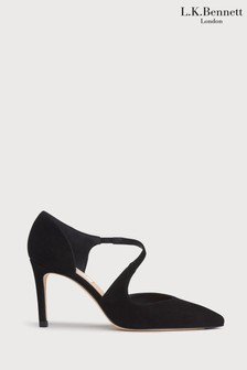 L.K.Bennett Black Victoria Asymmetric Cut Courts