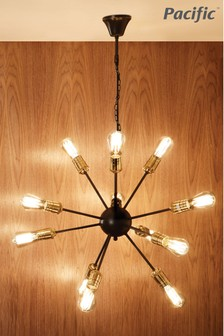 Aquila Black And Brass Metal Twelve Light Sputnik Pendant by Pacific