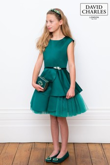 David Charles Green Satin Dress