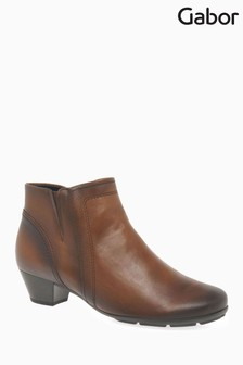 Gabor Brown Heritage Womens Modern Leather Ankle Boots
