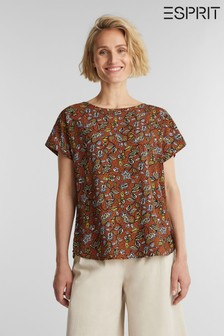 Esprit Brown Woven With Print Short Sleeved Blouse