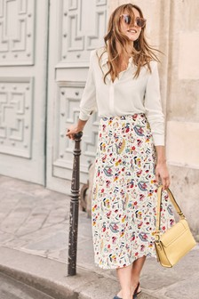 Boden Cream Indie Midi Skirt