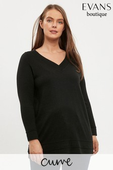 Evans Curve Black Ripple Hem V-Neck Jumper