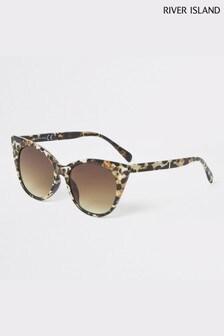 River Island Beige Leopard Print Polly Cat-Eye Sunglasses
