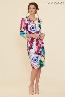 Gina Bacconi Pink Lareina Floral Scuba Dress