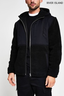 River Island Black Reg Nylon Borg Funnel Hood Jacket