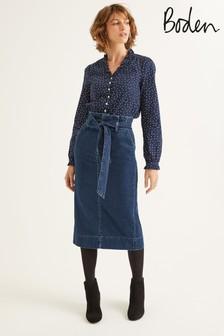 Boden Denim Cara Denim Paperbag Skirt