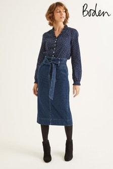 Boden Denim Cara Denim Paperbag Skirt