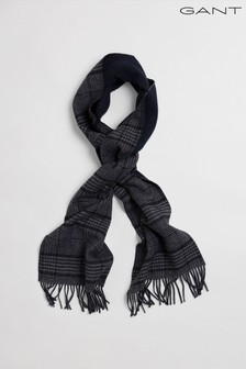GANT Blue Glencheck Wool Scarf