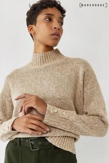 Warehouse Wool Blend Button Cuff Jumper