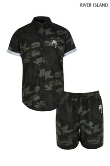 River Island Camo Button Shirt And Shorts Set