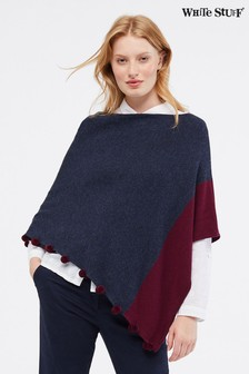 White Stuff Blue Penelope Colourblock Poncho