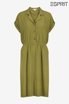 Esprit Green Light Woven Midi Dress