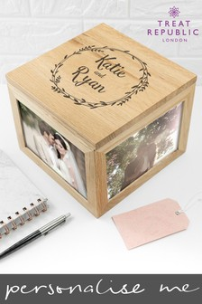 Personalised Wreath Photo Cube by Treat Republic