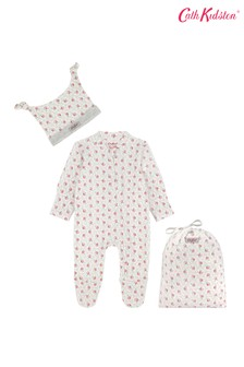 Cath Kidston® Provence Rose Sleepsuit And Hat Set