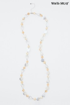White Stuff Metallic Long Heart & Disc Necklace