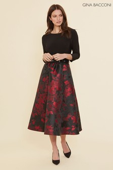 Gina Bacconi Red Jette Jacquard Dress