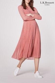 L.K.Bennett Avery Pleated Silk Dress