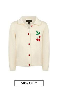 Girls Cream Cotton Cardigan
