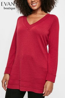 Evans Curve Berry Ripple Hem V-Neck Jumper