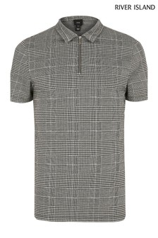 River Island Grey POW Check Polo