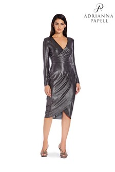 Adrianna Papell Black Foiled Jersey Wrap Dress