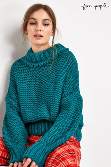 Free People Blue Cable Knit Jumper
