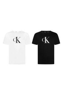 Calvin Klein Jeans Girls Black/White Cotton T-Shirts 2 Pack