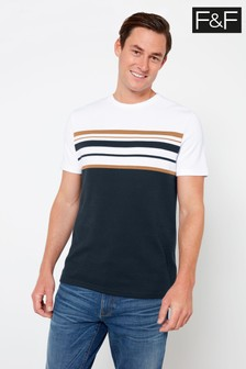 F&F White/Navy Chest Stripe Smart Interlock T-Shirt