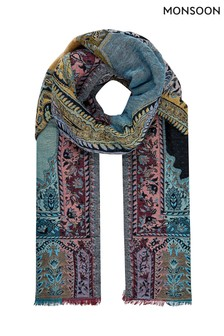 Monsoon Multi Prue Paisley Jacquard Blanket Scarf