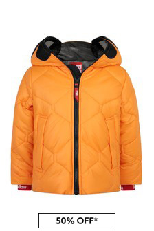 Boys Orange Quilted Jacket With Lenses