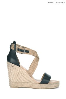 Mint Velvet Linda Black Woven Strap Wedges