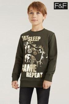 F&F Khaki Sweater With Gold Foil Print