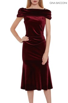 Gina Bacconi Red Maelle Stretch Velvet Dress