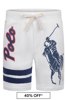 Boys White Cotton Polo Shorts