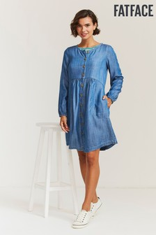 FatFace Blue Mina Denim Dress