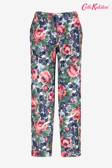 Cath Kidston Blue Oxford Rose Brushed Cotton Pyjama Bottoms