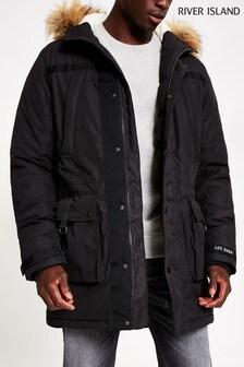River Island Black Parka Jacket