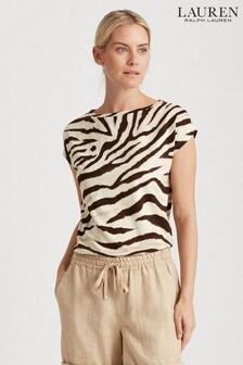 Lauren Ralph Lauren® Zebra Print Grieta T-Shirt