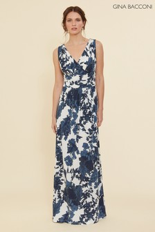 Gina Bacconi Blue Maliana Floral Jersey Maxi Dress