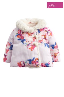 Joules Pink Marl Granny Floral Wrap Over Padded Jacket