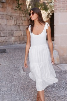 Tie Shoulder Linen Blend Dress