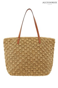 Accessorize Natural Raffia Coloured Strap Shoulder Bag