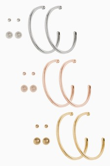 Mixed Metal Stud And Hoop Pack