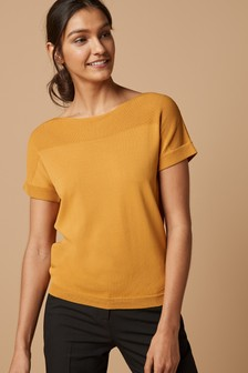 Wide Neck Short Sleeve Jumper