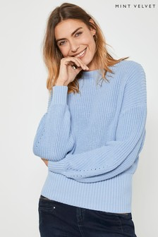 Mint Velvet Blue Chunky Rib Easy Jumper