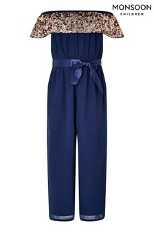 Monsoon Blue Vera Bardot Jumpsuit