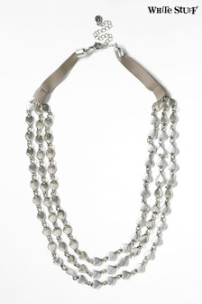 White Stuff Silver Tone Layered Heart Metal Necklace