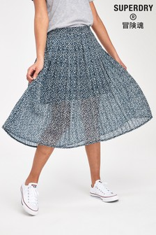 Superdry Navy Ditsy Pleat Skirt